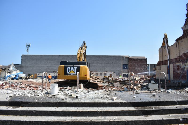PMG PHOTO: TERESA CARSON - The old gym entrance to the building was turned into rubble two weeks ago, on Tuesday, Aug.