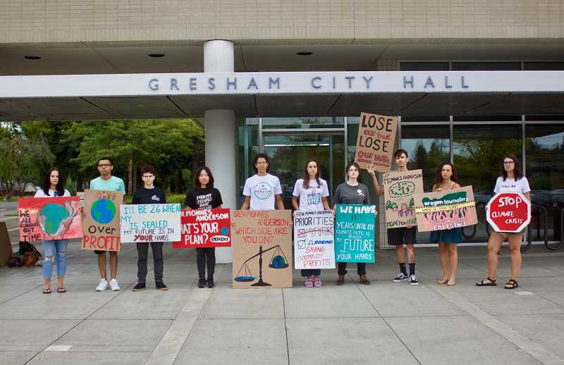 PMG PHOTO: CHRISTOPHER KEIZUR - A dozen high schoolers gathered outside of Gresham City Hall to protest the failure of the Clean Energy Jobs Bill in Salem during the recent Oregon Legislative Session.