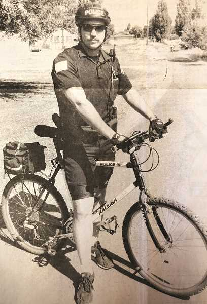 CENTRAL OREGONIAN - AUGUST 18, 1994: Frank Huereque on one of the police department's recent bicycle