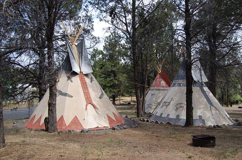 RAMONA MCCALLISTER - Tipi sites constructed and contracted by Nomadic Tipi Makers of Tumalo. The colorful Native American artwork is also done by Nordic Tipi Makers.
