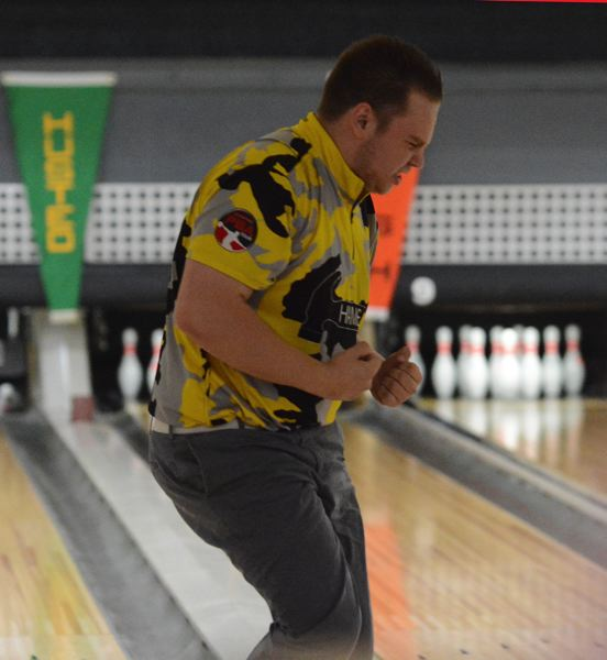 PMG PHOTO: DAVID BALL - Chris Tuholski reacts after rolling a strike late in Sundays championship match.