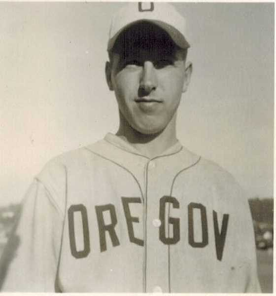 COURTESY OF THE SANTEE FAMILY - Bob Santee began playing baseball for the University of Oregon in 1943. World War Ii put a hold on his collegiate career but he returned for the 1946 season, helping win a championship game.
