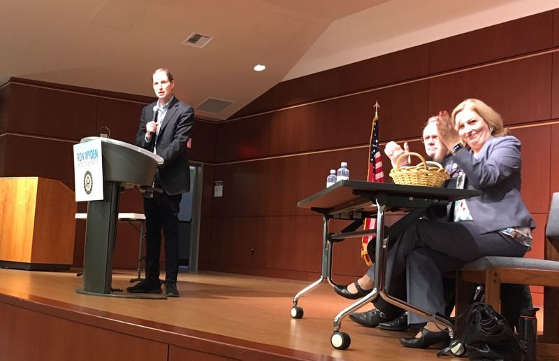 PMG PHOTO BY PETER WONG - U.S. Sen. Ron Wyden, D-Ore., at a town hall meeting Jan. 20 at Camp Withycombe in Clackamas. Seated at right are Ken Humberston and Sonya Fischer, Clackamas County commissioners. Wyden met Monday, Aug. 19, with Pamplin Media Group editors.