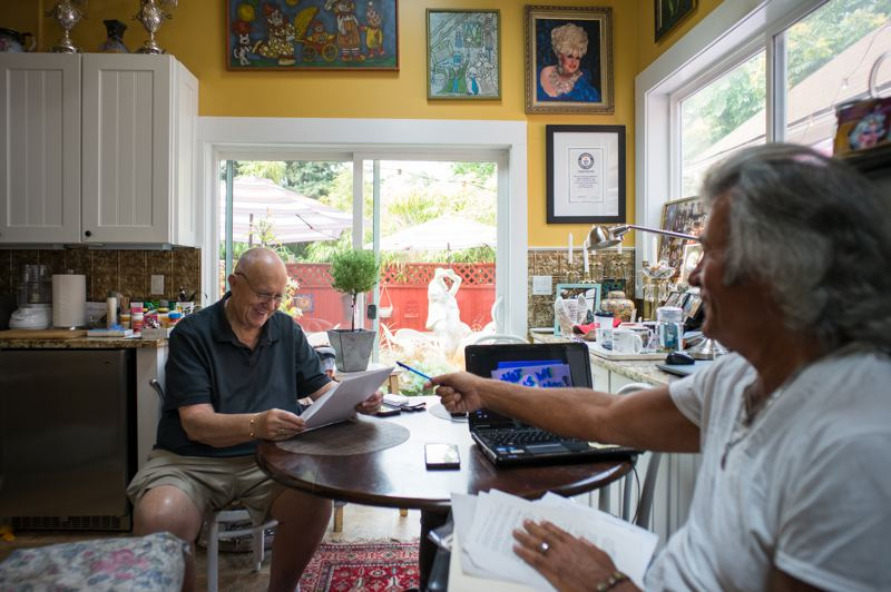 PMG FILE PHOTO: KIT MACAVOY - The story of Darcelle, aka Walter Cole, will be brought to the stage and to a book by Donald Horn (above, right, with Cole at his Northeast Portland home).