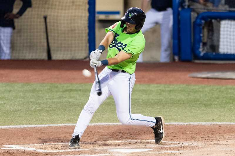 PMG PHOTO: CHRISTOPHER OERTELL - Hillsboro Hops infielder David Garza (8) during a minor league baseball game against the Boise Hawks at Ron Tonkin Field in Hillsboro on Aug. 16.