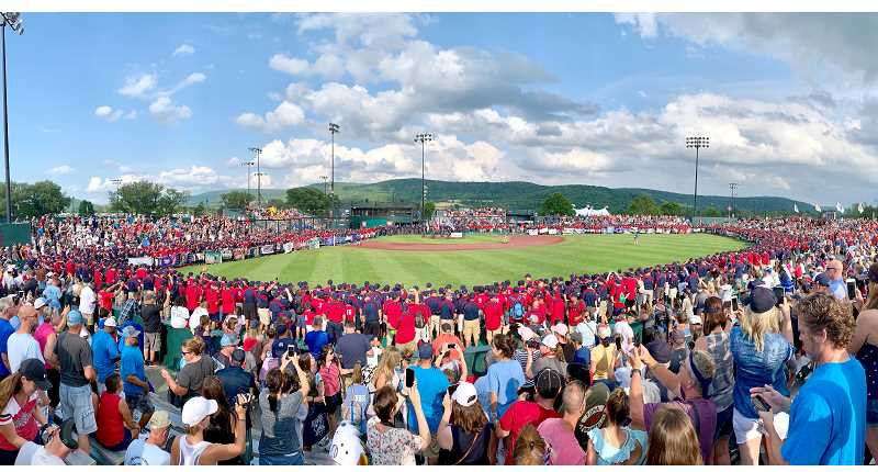 SUBMITTED PHOTO - A big crowd gets ready for a baseball town in Cooperstown.