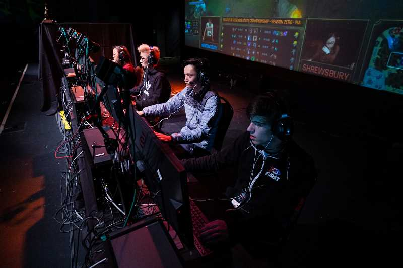 COURTESY PHOTO - A team of Esports competitors competes in a League of Legends state championship during last year's inaugural high sports Eesports season.