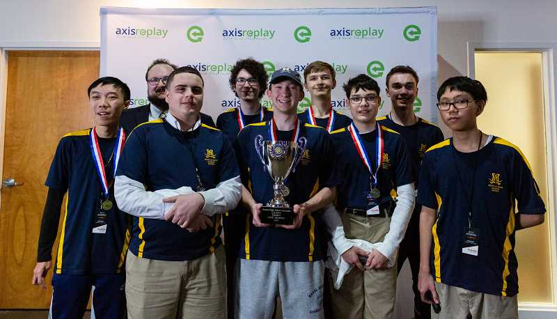 COURTESY PHOTO - Members of the Mount De Sales ESports team celebrate their win at Georgia's inaugural League of Legends Esport State Championships this past year.