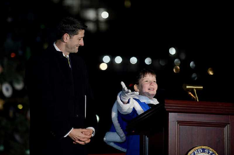 COURTESY PHOTO: KIM HARRINGTON - Hillsboro student Brigette Harrington recited her poem on national television and lit the tree with Speaker of the House Paul Ryan and attended several galas.