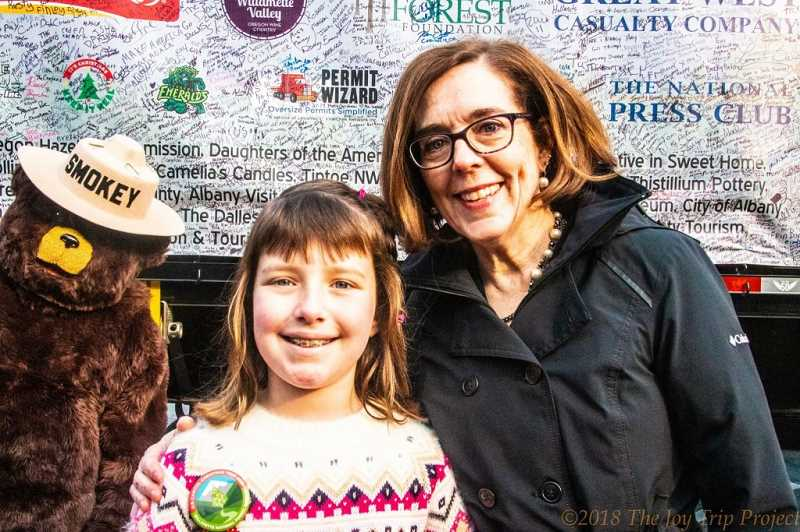 COURTESY PHOTO: KIM HARRINGTON - Hillsboro student Brigette Harrington was selected by Governor Kate Brown to light the Capitol Christmas Tree that came from Oregon last year.