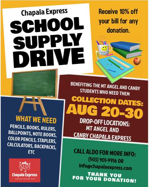 COURTESY PHOTO - Chapala Express's Mount Angel and Canby locations are seeking donations for school supplies prior to the start of the 2019-20 school year.