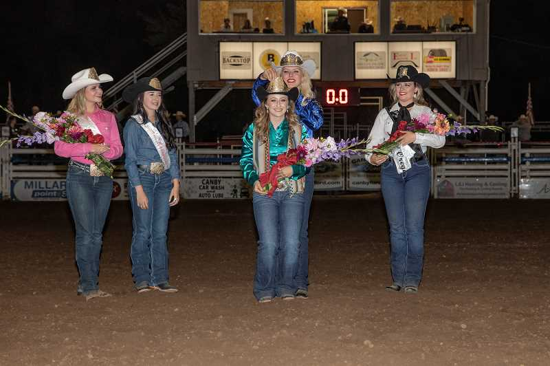 COURTESY PHOTO: JEFF WONG - Current Miss Rodeo Oregon Taylor Skramstad crowns Samantha Henricks as the 2020 Miss Rodeo Oregon at the Canby Rodeo on Saturday, Aug. 17. From left are: Miss Teen Rodeo Oregon 2019 Meredith Moore, Junior Miss Rodeo Oregon 2019 Rowdy Israel, Henricks and Skramstad, and Miss Rodeo Alaska 2019 Johnna Drew.
