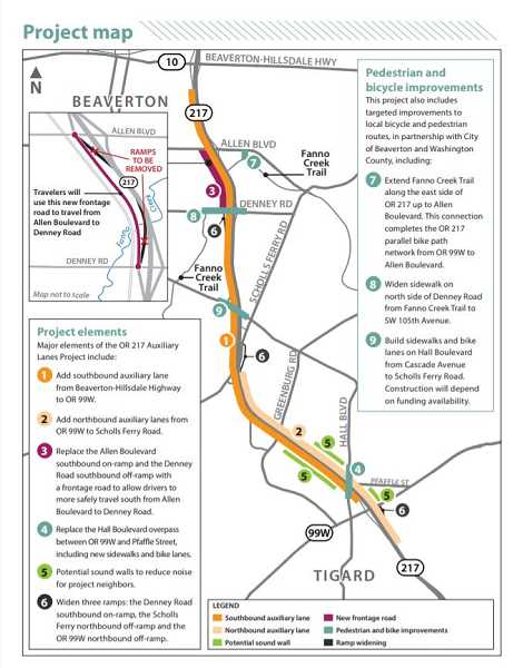 COURTESY OF ODOT - This is an overview of the scope of the auxiliary lanes project planned by the Oregon Department of Transportation, running from Beaverton-Hillsdale Highway to Highway 99W