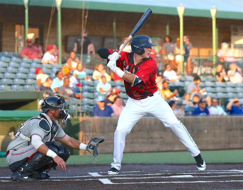 PHOTO COURTESY OF GATEWAY GRIZZLIES - Sherwood High School graduate Zak Taylor gets ready to take a cut for the Gateway Grizzlies during a Frontier League contest.