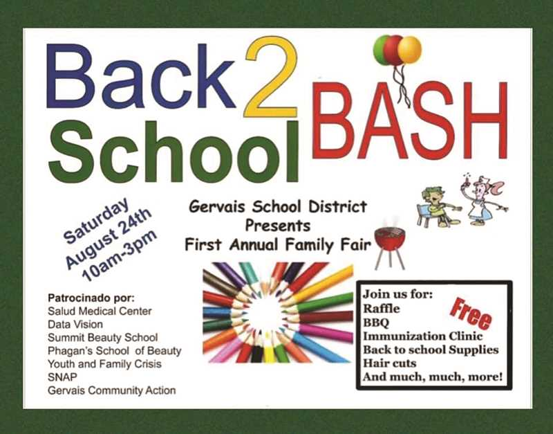 COURTESY GRAPHIC - The Gervais Back 2 School Bash will feature vision and health screenings, free immunizations, school supplies, lunch and more on Saturday, Aug. 24.