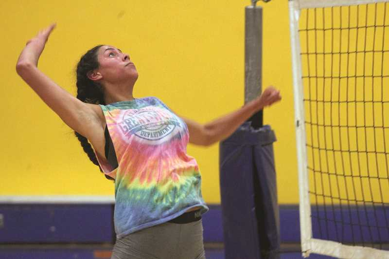 PMG PHOTO: PHIL HAWKINS - Gervais middle blocker Bella Vasquez is one of just two seniors that were on last years volleyball team that finished one game shy of qualifying for the league playoffs.