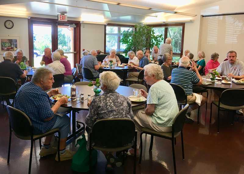 The West Linn Adult Community Center serves lunch Monday, Wednesday and Friday at noon. Besides a delicious and nutritious lunch, diners enjoy good company.