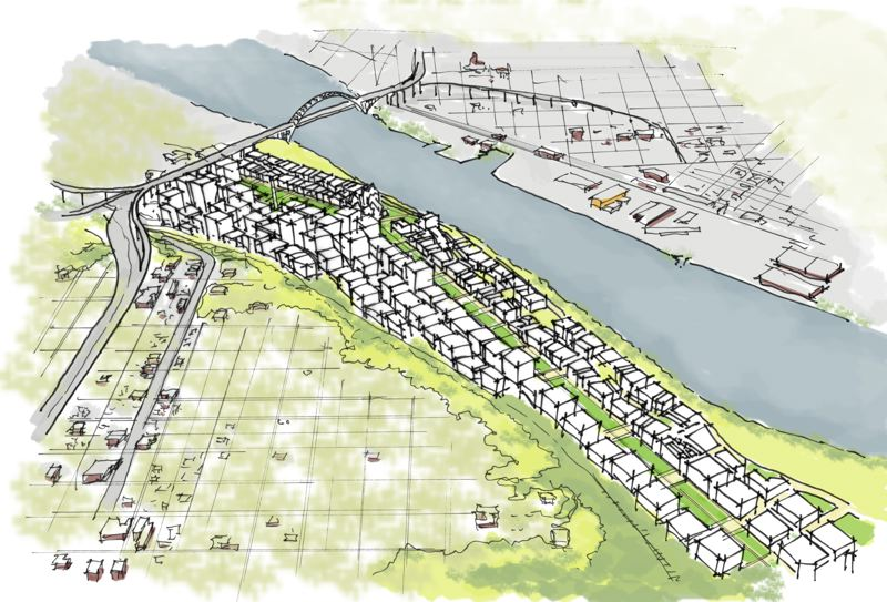 COURTESY: JONATHAN KONKOL - Although it may not happen for several generations, the redevelopment of the property where Interstate 5 and the Union Pacific Railyards presently reside, is critical to the future of Portland's growth. At left is the railyards facing south and facing north.
