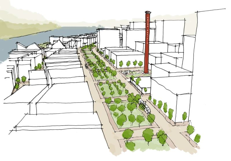 COURTESY: JONATHAN KONKOL - Although it may not happen for several generations, the redevelopment of the property where Interstate 5 and the Union Pacific Railyards presently reside, is critical to the future of Portland's growth.