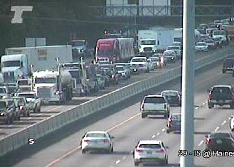 COURTESY PHOTO - A photo from ODOT's traffic cameras shows a northbound Interstate 5 backup near Southwest Haines Road. A fatal truck crash Wednesday night, Aug. 21, blocked the highway fthrough Thursday morning's commute.