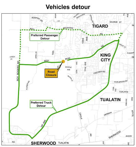 COURTESY PHOTO: WASHINGTON COUNTY DEPARTMENT OF LAND USE & TRANSPORTATION - Heres the location of the closure of Beef Bend Road beginning Sept. 4 as well as suggested detours.