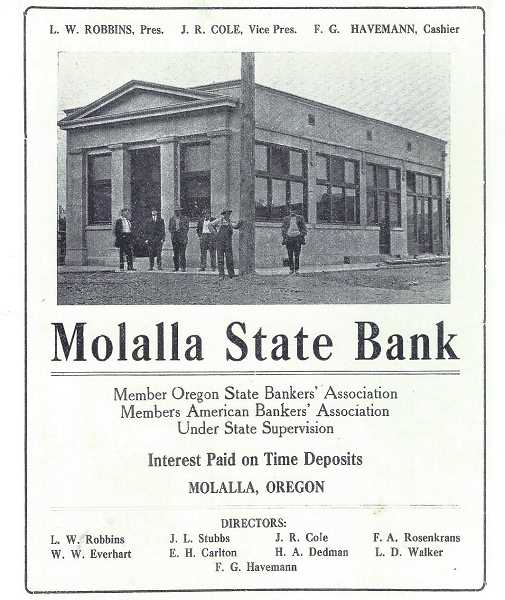 A Molalla State Bank ad in the Morning Enterprise, Anniversary Edition of 1914.