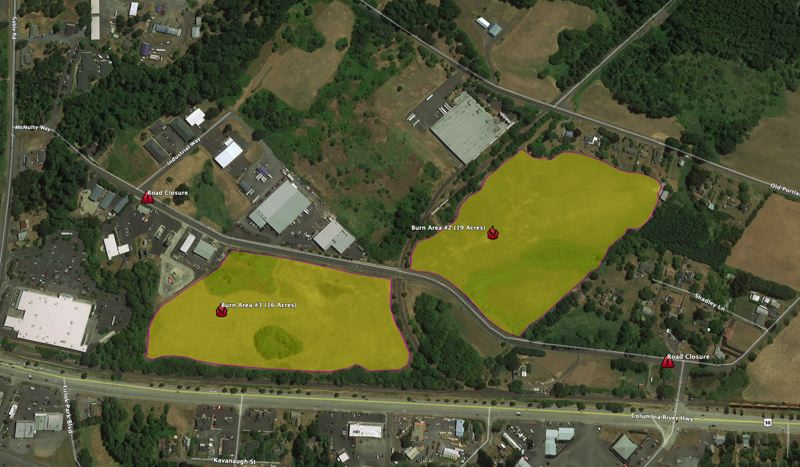 COURTESY MAP: SCAPPOOSE FIRE DISTRICT/COLUMBIA RIVER FIRE AND RESCUE  - This map outlines the two parcels of land on McNulty Way that will be used in the prescribed burn.