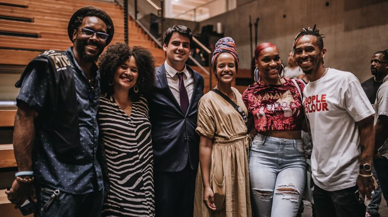 PHOTO: THE COLLAB.PDX, ALEX KNOWNODY - Other company founders who pitched on the night, including Haben Woldu (third from the right), a Media Biller at Wieden + Kennedy, whose Lucee will be a marketplace for Ethiopian home wares.