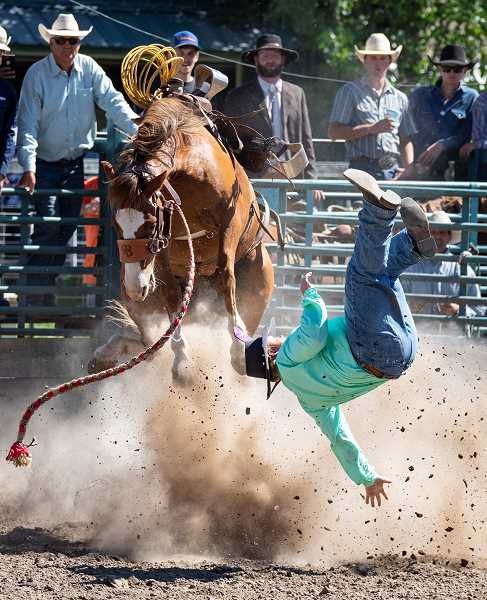 CENTRAL OREGONIAN FILE PHOTO - Ranch bronc riding is one of the most popular and exciting events at the Paulina Amateur Rodeo. This is the 70th anniversary of the rodeo, which features many of the top amateur cowboys and cowgirls in Central Oregon.