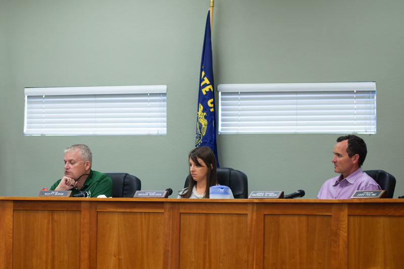 PMG PHOTO: ANNA DEL SAVIO - Scappoose Mayor Scott Burge, Councilor Megan Greisen, Councilor Will Kessi and other members of City Council met as the urban renewal agency on Monday, Aug. 21.