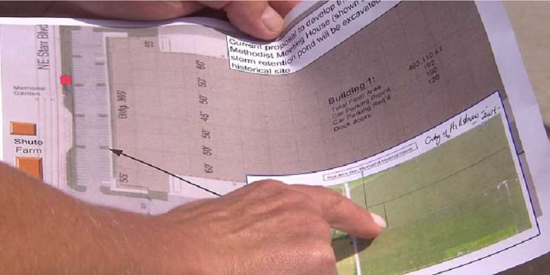 COURTESY: KOIN 6 NEWS - Dirk Knudsen with the Five Oaks Discovery Coalition in Hillsboro shows plans for a memorial, August 22, 2019.