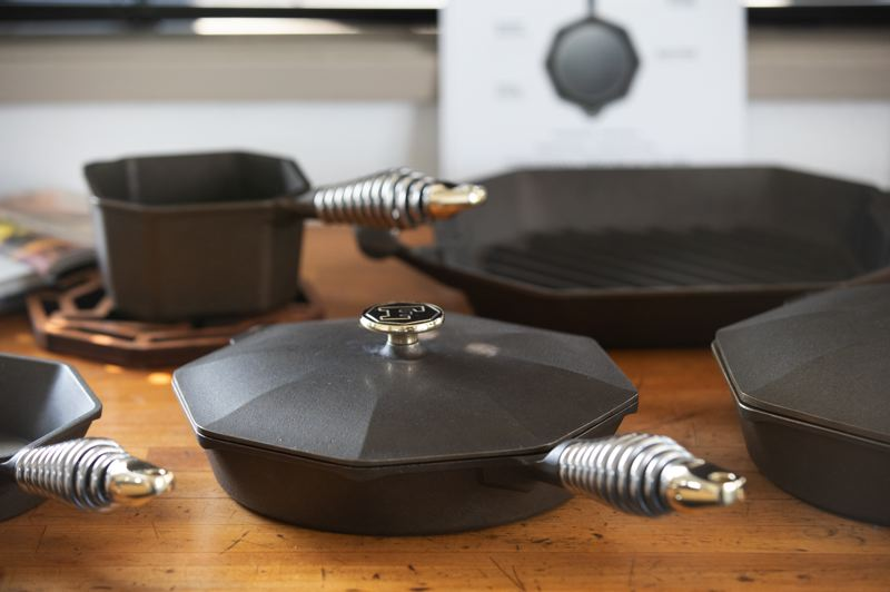 TRIBUNE PHOTO: JONATHAN HOUSE - New Finex Cookware on display at their Northwest Portland production facility.