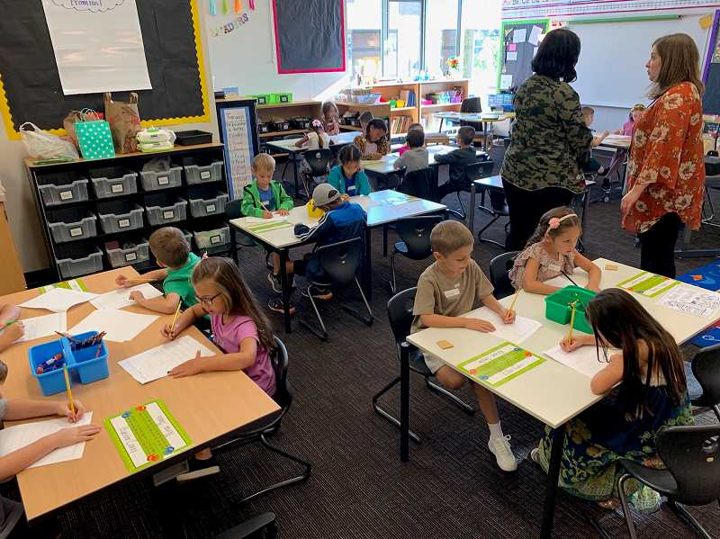 COURTESY PHOTO: ANDREW KILSTROM - Lowrie Primary students get acclimated to their classrooms on the first day.