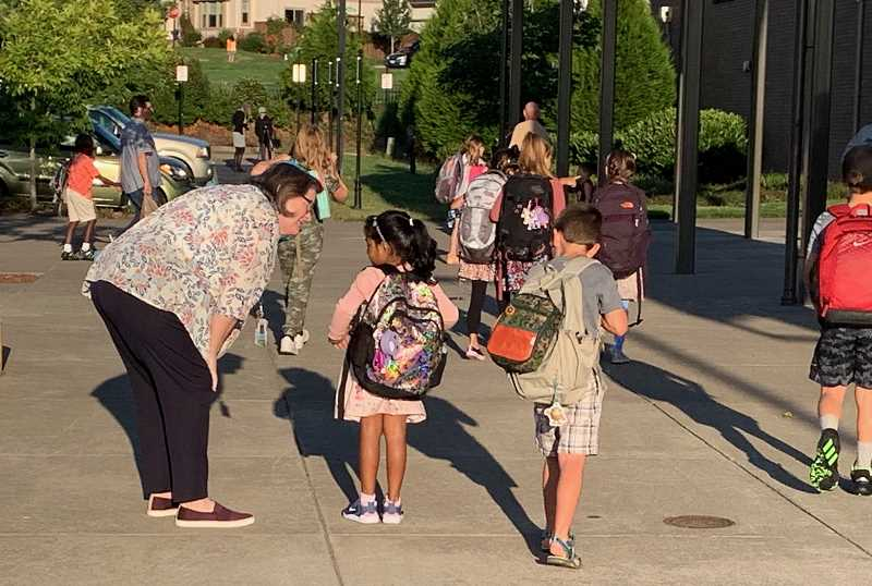 COURTESY PHOTO: ANDREW KILSTROM - Students show up to Lowrie Primary bright and early Aug. 26.