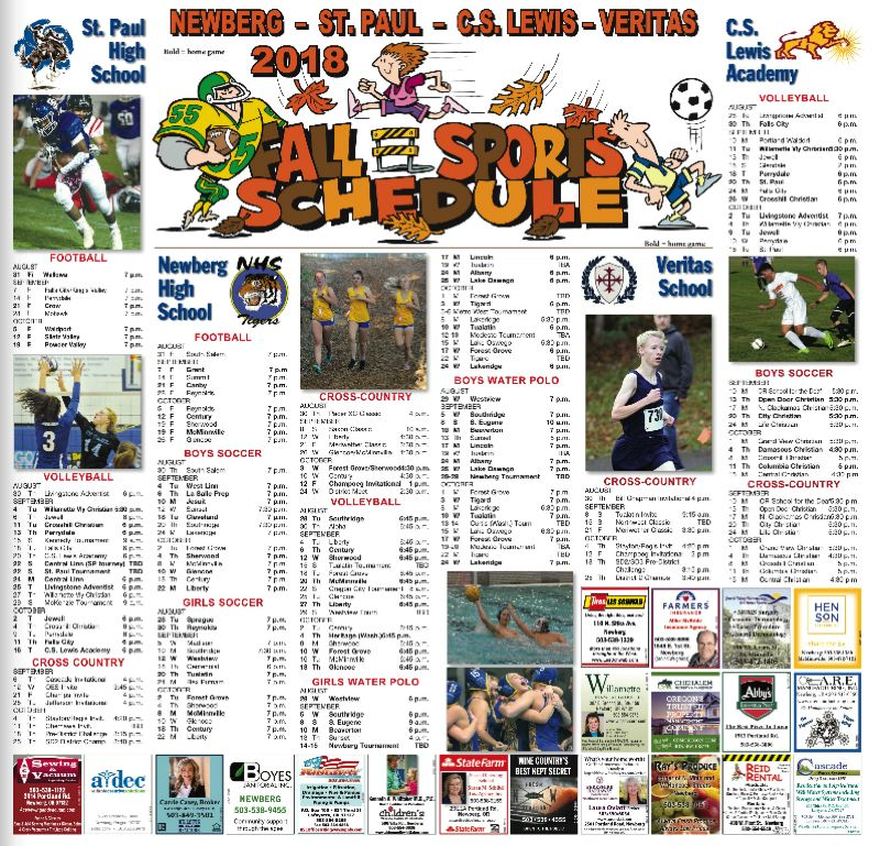 (Image is Clickable Link) Fall Sports Schedule 2019 Newberg