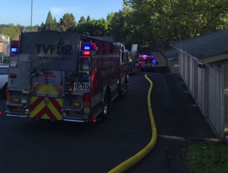 VIA TVFR - Tualatin Valley Fire & Rescue crews extinguished a blaze in a second-floor apartment in Cedar Mills on Thursday, Aug. 22.
