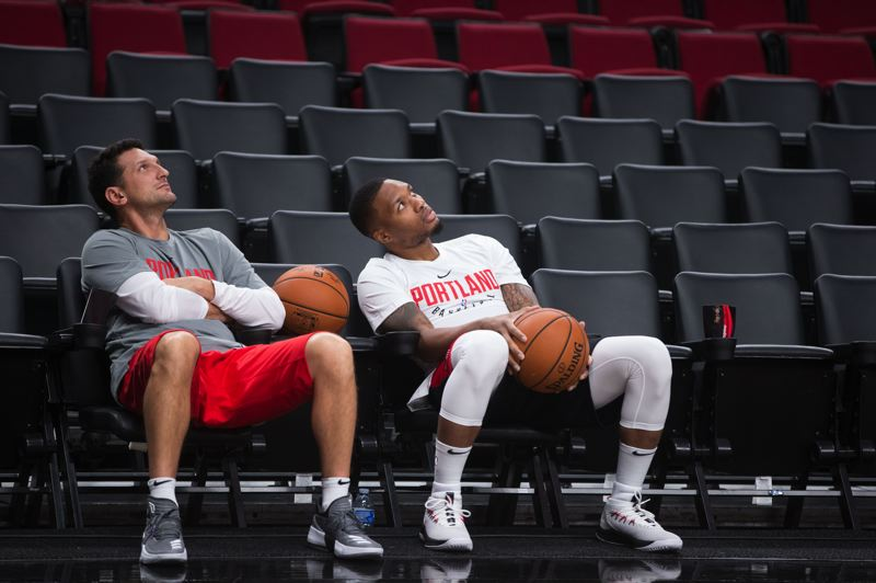 COURTESY PHOTO: TRAIL BLAZERS - Nate Tibbetts (left) and Damian Lillard relax before a game.