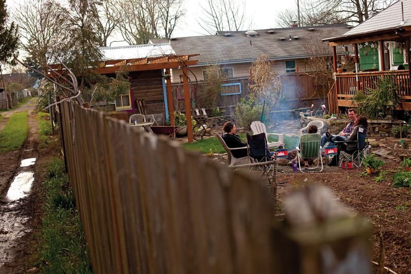 TRIBUNE PHOTO: CHRISTOPHER ONSTOTT - A backyard campfire is shown here in Portland.
