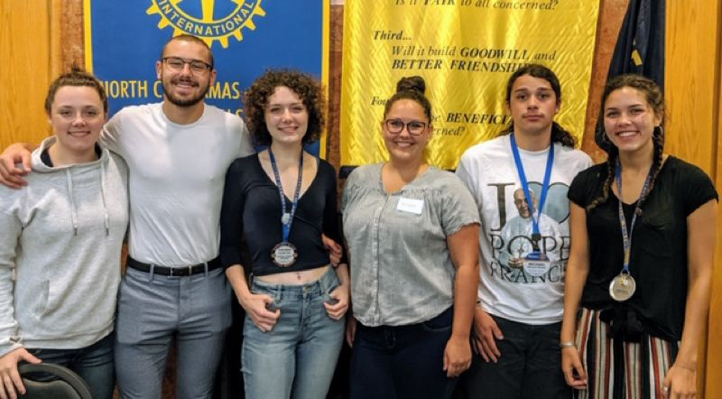 COURTESY PHOTO - Pictured are former students from the Clackamas Sunrise Rotary Youth Exchange program, including Taylor Truitt (from left), Aaron Scheible, Kayleigh Truitt, Brooke Hein, Michael Reams and Natalie Marcum.