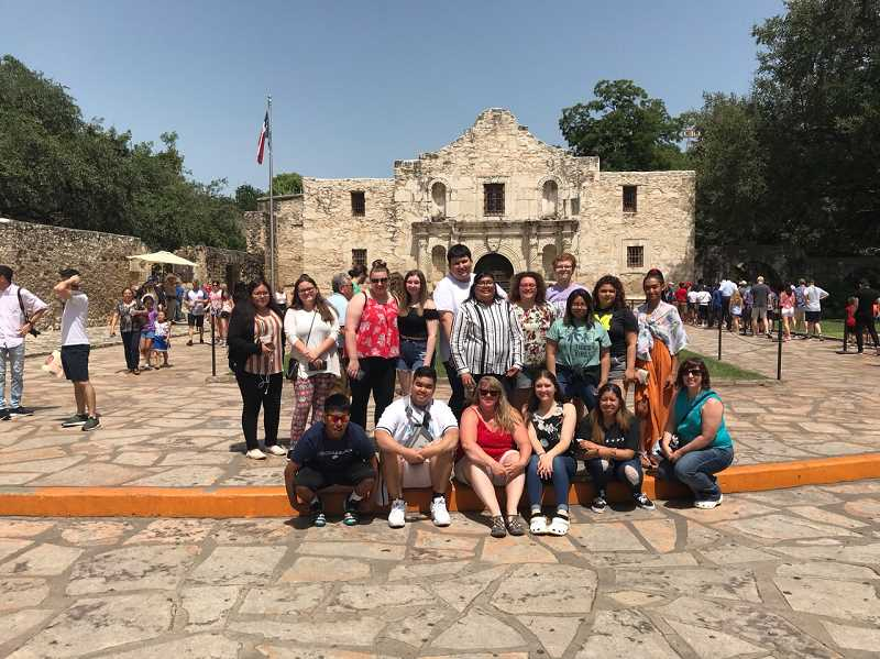 COURTESY PHOTO: KIEL MARTIN - Molalla FBLA members pose at The Alamo during their San Antonio Spanish Mission tours. The group visited San Antonio from June 27 to July 3 to compete in the National Leadership Conference, and while they were there, took full advantage of the attractions Texas has to offer.