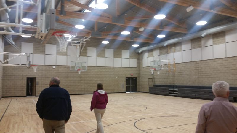 PMG PHOTO: RAYMOND RENDLEMAN - School officials get a sneak peek at the gym of Beatrice Morrow Cannady Elementary School, prior to the grand opening this week.