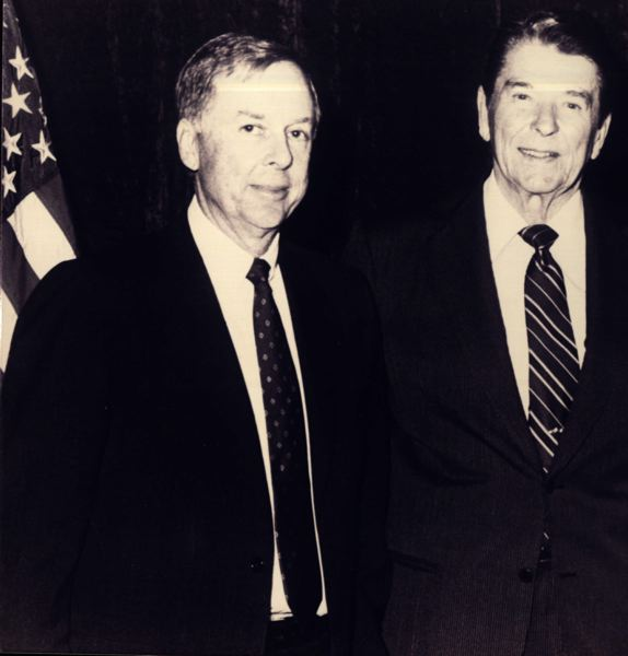 COURTESY: T. BOONE PICKENS - Oklahoma State benefactor T. Boone Pickens with one of the leaders he admired, President Ronald Reagan.