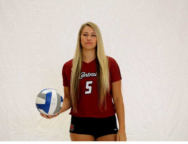 SUBMITTED PHOTO - Mauritson averaged 3.71 kills per set, her stats were second in the Great Northwest Athletic Conference. Mauritson racked up 331 digs and 21 aces, averaging 4.41 points per set. She received first-team All-Great Northwest Athletic Conference honors and all-academic honors in the GNAC.