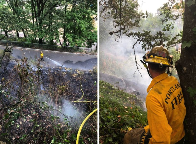 VIA PORTLAND FIRE - Portland Fire responded to four separate fires set on a bluff near the University of Portland on Aug. 21.