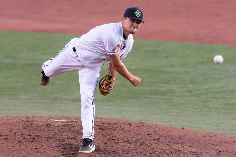 PMG PHOTO: CHRISTOPHER OERTELL - Hillsboro Hops pitcher Conor Grammes. After a relatively rocky start to his initial Hops campaign, the 22-year-old native Virginian has allowed just three hits over his last eight innings.
