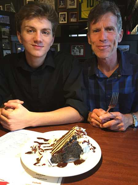 COURTESY PHOTO - Bryce Enoch-Wysham and Tom Kay share dessert at Lil' Cooperstown, where Bryce works.