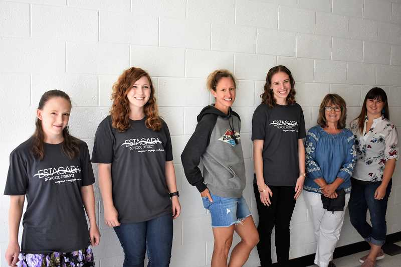 PMG PHOTO: EMILY LINDSTRAND - New Estacada School District staff members Bri Jury, Emma Kirchoffer, Brandy Atwell, Kristine Bible, Sammie Beaton and Rita Hill are all Estacada High School alums.