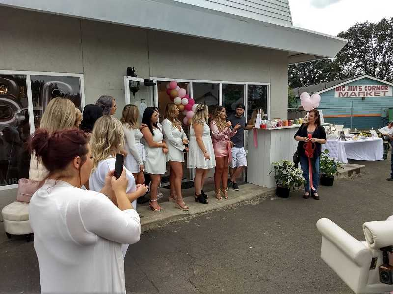 COURTESY PHOTO: ESTACADA CHAMBER OF COMMERCE - Parlour Beaute Bar celebrated its grand opening on Saturday, Aug. 17, with a party in their parking lot.