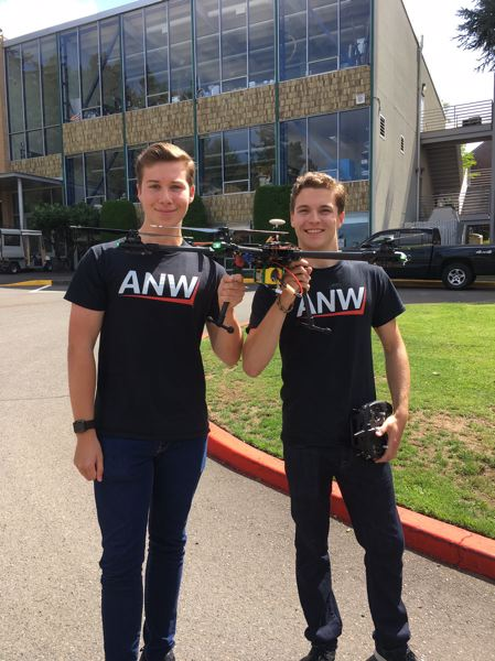 PMG PHOTO BY PETER WONG - Walker Jones, left, and Ryan Westcott, cofounders of Aeronautics Northwest and seniors at Oregon Episcopal School, with their full-scale drone. They will take part in the Mini Maker Faire on Sept. 7-8 at the Oregon Museum of Science and Industry in Portland.