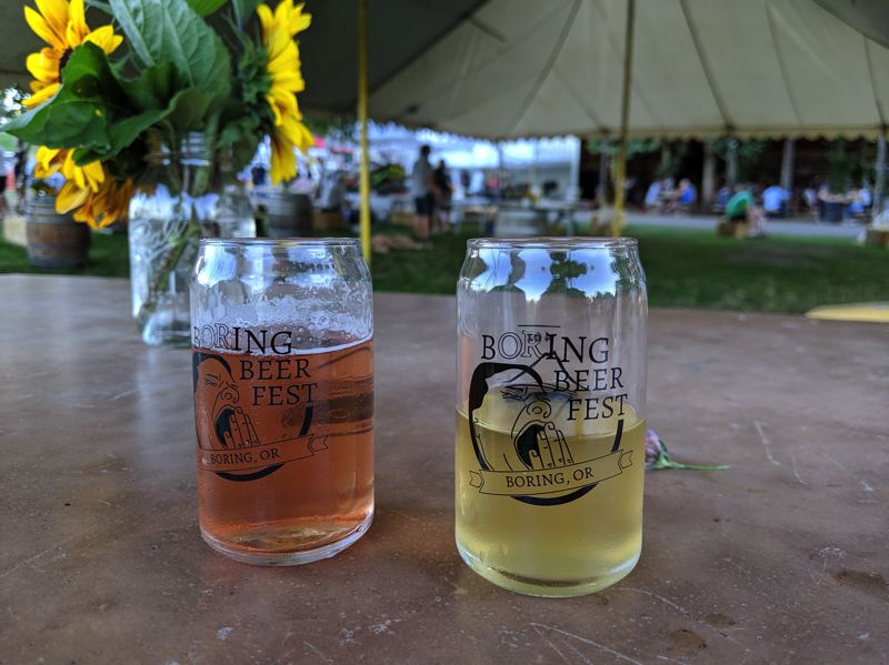 PMG PHOTO: BRITTANY ALLEN - Boring Brewing shared a booth with newer Sandy-based brewery, the Boring Cider Company at the Boring Beer Fest.